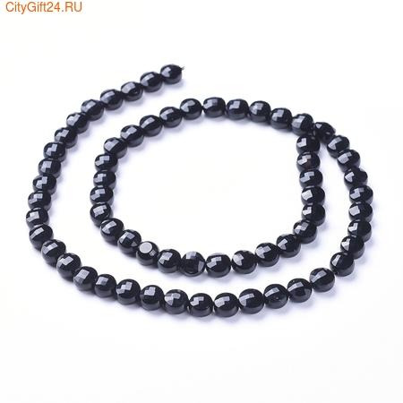 PH Бусина агат чёрный граненый 6~7*4~4.5 мм