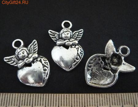 SN Подвеска ангел с сердцем 25*16 мм