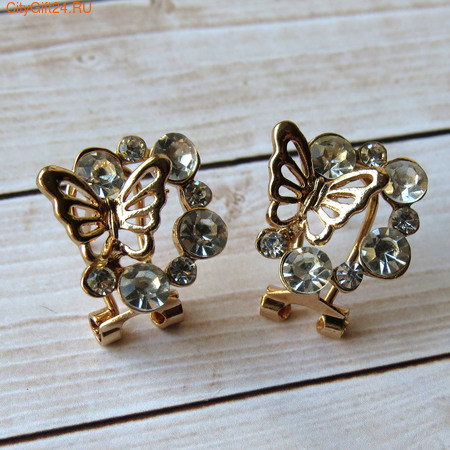 BS Серьги бабочки 18*18 мм