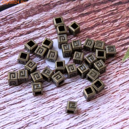 PH Бусина металлическая с узором 4*4 мм