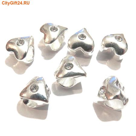 BS Бусина металлическая со стразами 9,5*10 мм