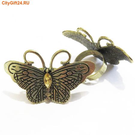 BS Кольцо бабочка со стразами