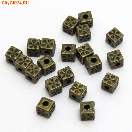 PH Бусина металлическая куб 5 мм