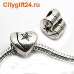 BS Бусина металлическая сердце 11*9,5 мм