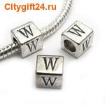 BS Бусина металлическая буква W 7*6.5 мм