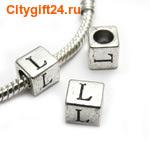 BS Бусина металлическая буква L 7*6.5 мм