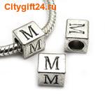 BS Бусина металлическая буква M 7*6.5 мм