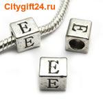 BS Бусина металлическая буква E 7*6.5 мм
