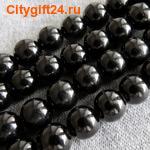 BS Бусина агат чёрный 14 мм (имитация)
