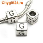 BS Бусина металлическая буква G 7*6.5 мм