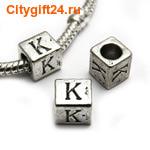 BS Бусина металлическая буква K 7*6.5 мм