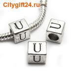 BS Бусина металлическая буква U 7*6.5 мм