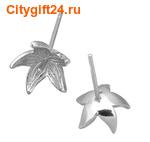 BS Пуссеты с цветком 16*11 мм (серебро)
