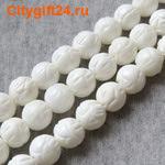 Fashion Jewelry Бусина коралл белый резной 10 мм