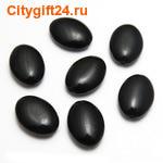 BS Бусина агат чёрный плоская 18*12 мм (имитация)