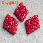 BS Бусина коралл синтетический цветы 45*32 мм