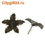 SN Пуссеты (гвоздики) кленовый лист 24*14 мм