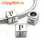 BS Бусина металлическая буква P 7*6.5 мм
