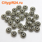 BS Бусина металлическая биконус 7*4 мм