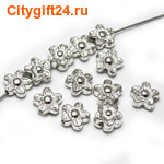 BS Бусина металлическая цветок 9 мм