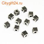 PH Бусина металлическая куб 4 мм