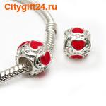 BS Бусина металлическая сердце 8*9,5 мм