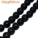 PH Бусина агат чёрный с рисунком 10 мм