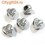 BS Бусина металлическая сердце Love 9,5*11*6 мм