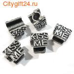 BS Бусина металлическая Kiss Me 12*10*10 мм