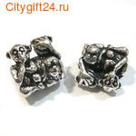 BS Бусина металлическая три обезьяны 15*15*10 мм