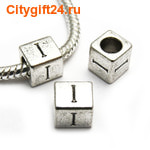 BS Бусина металлическая буква I 7*6.5 мм