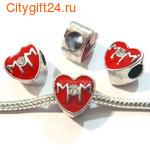 BS Бусина металлическая сердце 11*10,5 мм