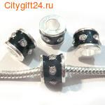 BS Бусина металлическая со стразами 11*8 мм