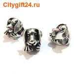 BS Бусина металлическая пёс 12*11,5*14 мм