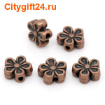 SN Бусина металлическая цветок 7*7 мм