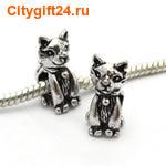 BS Бусина металлическая кошка 7*16*12 мм