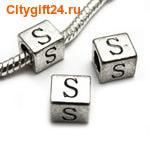 BS Бусина металлическая буква S 7*6.5 мм