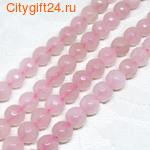 BS Бусина розовый кварц граненая 8 мм